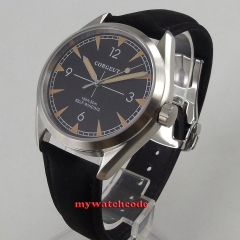 41mm Corgeut black Dial Leather Strap Sapphire Glass Automatic Movement men's Watch