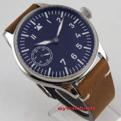 45mm Corgeut Fashion Leather Top luminous 17 Jewels  6497 Hand Winding Mechanical  Men watch