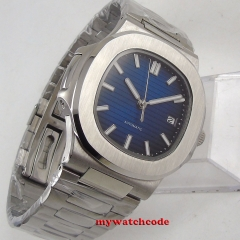 40mm Bliger sterile Blue Dial Sapphire Glass Date Steel Case Automatic Movement mens Watch