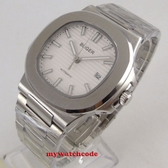 40mm white dial date luminous Square sapphire glass  Automatic men's Watch