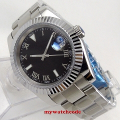 40mm bliger sterile black dial sapphire glass Roman numerals Automatic movement mens watch