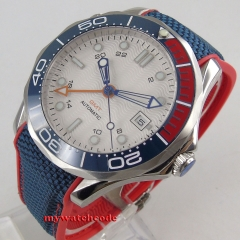 41mm white dial date luminous GMT sapphire glass blue red ceramic bezel Automatic men's Watch