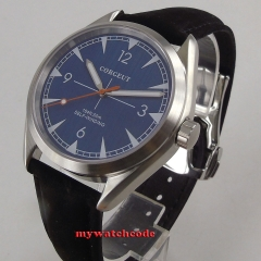 41mm corgeut blue dial Luxury Brand Sapphire Glass Casual Luminous automatic movement men's watch