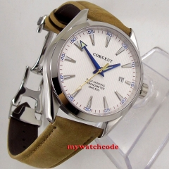 41mm Corgeut White Dial Stainless steel Case Sapphire Glass Blue Hand Automatic Movement men's Watch