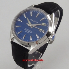 39mm Watch Sapphire Glass Date Military Blue Dial Stainless Steel Band automatic men's Watch