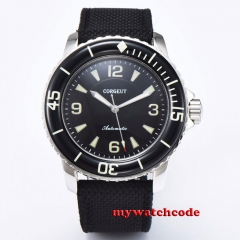 45mm Corgeut Black Dial Solid Case Leather strap Movement men's Watch