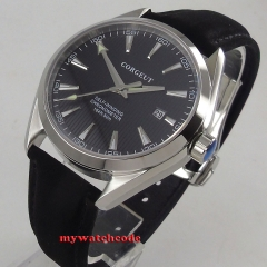 41mm Corgeut black Dial Stainless steel Case Sapphire Glass Blue Hand Automatic Movement men's Watch