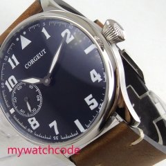 44mm CORGEUT blue Dial luminous waterproof Luxury brown leather strap 6497 hand winding Movement men's Watch