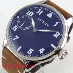 44mm CORGEUT blue black Dial Luxury leather brown strap 6497 hand winding Movement men's Watch