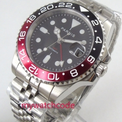 Luxury 40mm PARNIS black Dial sapphire glass GMT stainless steel strap automatic Movement men's Watch