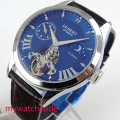 Luxury 41mm DEBERT blue Dial silver marks luminous waterproof  black leather strap automatic Movement men's Watch