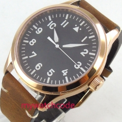 42mm parnis black dial sapphire glass leather strap Automatic movement mens watch