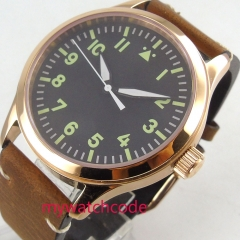 42mm parnis black dial sapphire glass leather strap green marks Automatic movement mens watch