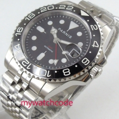 Luxury 40mm PARNIS black Dial sapphire glass GMT stainless steel strap black bezel automatic Movement men's Watch
