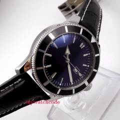46mm BLIGER black Dial date leather strap stainless steel Case hand winding Movement men's Watch
