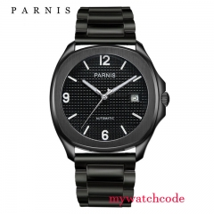 40mm parnis Black Dial PVD coated Automatic movement men's Watch