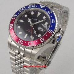 blue&red bezel Luxury 40mm parnis black dial date stainless steel strap automatic movement men's Watch code