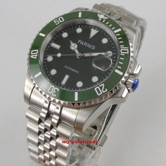 Green bezel 40mm parnis green Dial automatic movement men's Watch