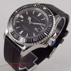 Rubber strap 41mm parnis black Dial automatic movement men's Watch