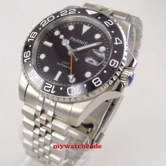 black bezel Luxury 40mm parnis black dial date stainless steel strap automatic movement men's Watch code