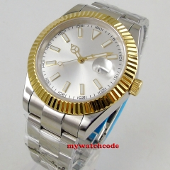 gold plated bezel Luxury 40mm parnis silver dial date stainless steel strap automatic movement men's Watch
