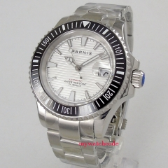 Luxury 41mm parnis white dial stainless steel strap automatic movement men's Watch