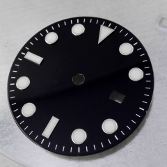BLIGER black Sterile 31.5MM Dial White Marks Date Window Luminous Marks Watch Dial Fit for MIYOTA 8205 8215 821A Movement