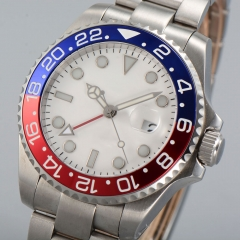 40mm parnis white dial GMT date window sapphire automatic mens watch