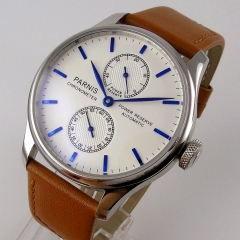 43mm parnis white dial Luxury power reserve automatic movement mens watch 767