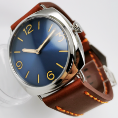 vintage 47mm mechanical 6497 hand winding movement men's watch MM style polished case blue sandwich dial