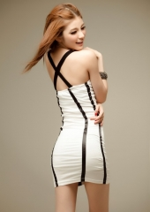 Korean nightclub sexy lace slim package hip dress