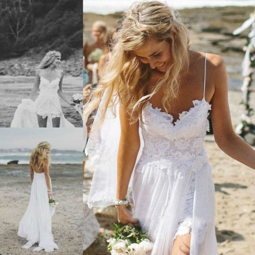 Sling V-neck halter chiffon lace wedding dress