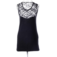 Women's sexy halter dress lace stitching