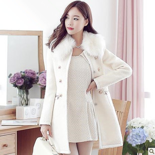 Slim thin woolen thick fur collar double-breasted warm woolen coat