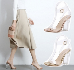 One word with open-toed crystal shoes transparent thick with sandals shoes