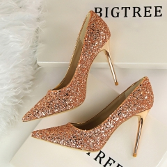 Shallow mouth pointed shiny sequins high heels shoes