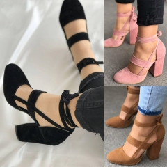 Thick with suede foot ring with thick heels with high heels
