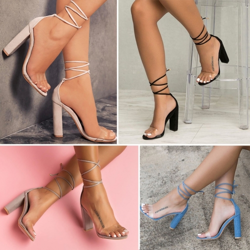 Transparent straps with high heels