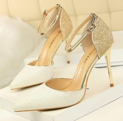 Charming Gradient Colorblocked Sequins Side Hollow Stiletto Pumps