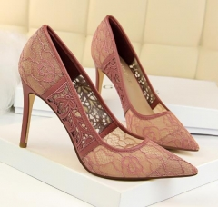 Charming Cutout Mesh Silky Stiletto Pumps