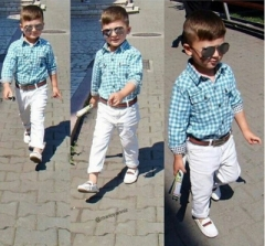 Plaid shirt + white trousers with belt set of 3