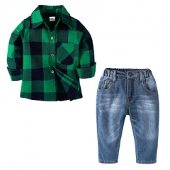 Boy's cotton plaid long-sleeved shirt two-piece