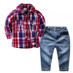 Children  long sleeve shirt trousers two-piece