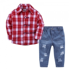 Boy Plaid Long Sleeve Shirt Jeans Set