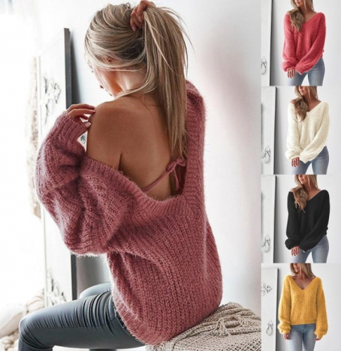 Charming Backless loose sweater