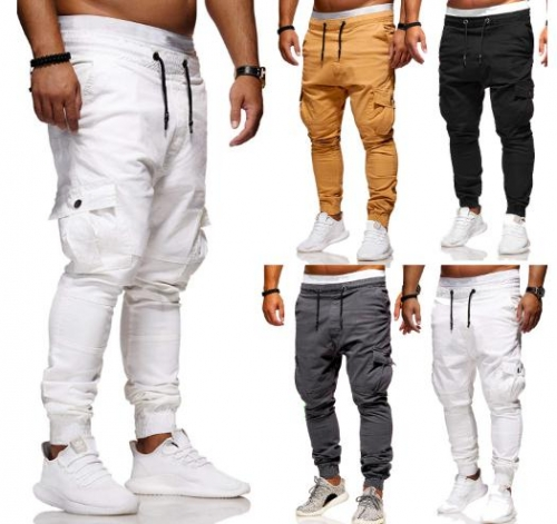Charming Men's multi-pocket tether elastic sweatpants