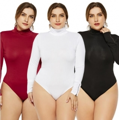 Charming High collar tight bodysuit