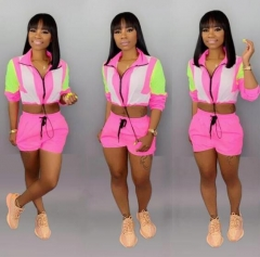 Charming Color matching fluorescent casual sports suit