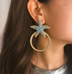 Charming Starfish circle temperament earrings