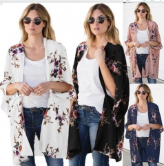 Charming Printed bat sleeve cardigan
